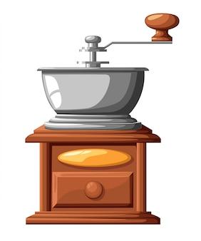 Manuelle kaffeemühlenillustration der klassischen kaffeemühle auf weißem hintergrund