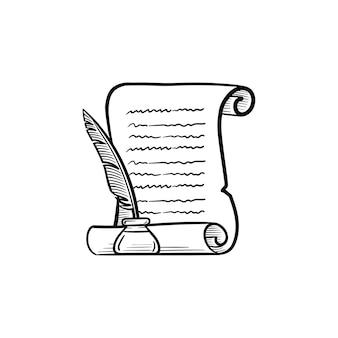 Manuskriptpapierrolle mit federstift im tintenfass handgezeichnete umriss-doodle-symbol. ehrenurkunde geschrieben mit einer federstiftvektorskizzenillustration für print, web, mobile und infografiken.