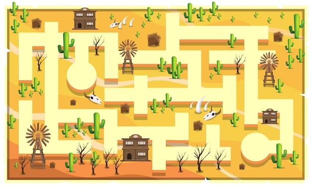 Map desert salon mit pfad und kaktus, vintage-gebäude, tierknochen und windmühle für 2d game platformer illustration