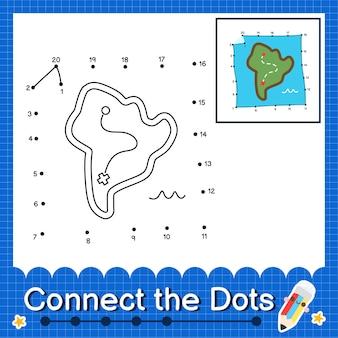 Map kids verbinden das punktarbeitsblatt für kinder, die die nummern 1 bis 20 zählen