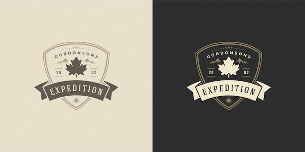 Maple leaf logo emblem vector illustration silhouette für hemd oder druckstempel. vintage-typografie-abzeichen oder etikettendesign.