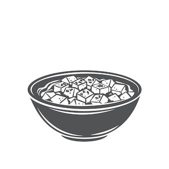 Mapo tofu chinesische küche glyphe monochrome ikone. asiatisches essen eingraviert