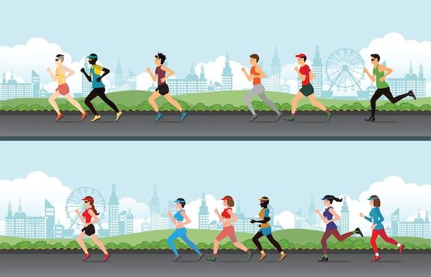 Marathon läufer männer und frauen auf der straße.