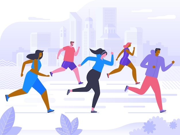 Marathon-wettbewerb, outdoor-training oder -übung, leichtathletik. männer und frauen in sportkleidung beim joggen oder laufen durch den park. gesunder aktiver lebensstil. flache cartoon bunte vektor-illustration.
