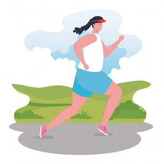 Marathonläuferin, die sportlich, weiblich im laufwettbewerb oder in der marathonlaufillustration läuft