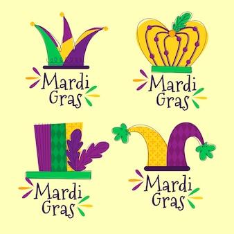 Mardi gras abzeichen gesetzt