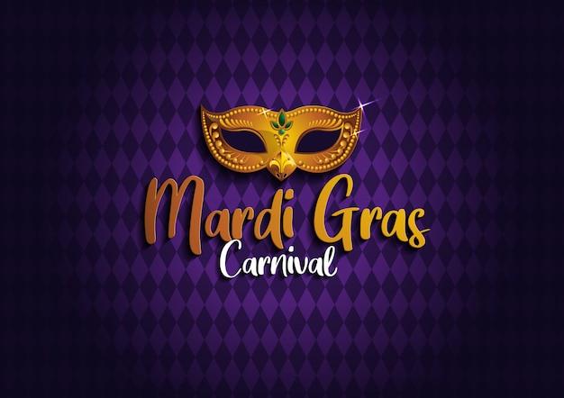 Mardi gras background mit goldener maske