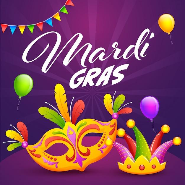 Mardi gras celebration mit bunter parteimaske, jester hat und den ballonen verziert auf purpurroten strahlen.