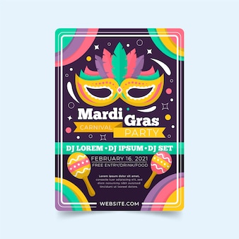 Mardi gras flache design flyer vorlage mit maske und maracas