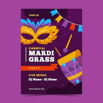 Mardi gras flache design flyer vorlage