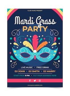 Mardi gras flyer vorlage in flachem design