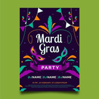 Mardi gras flyer vorlage in flachem design