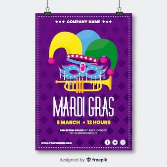 Mardi gras flyer vorlage