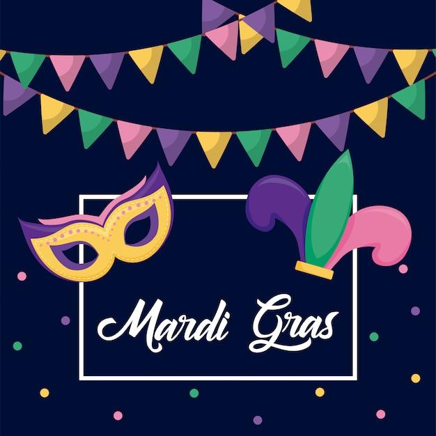 Mardi gras karte mit joker hut und maske