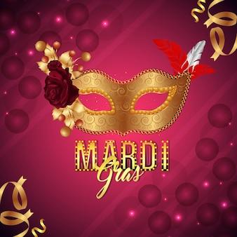 Mardi gras party grußkarte und hintergrund