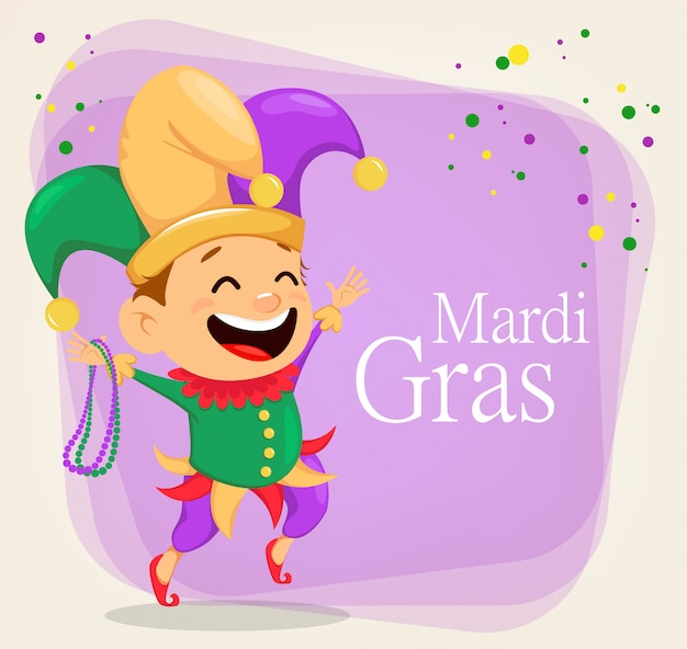 Mardi gras-spaßvogel, der halsketten hält