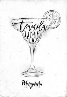 Margarita cocktail mit schriftzug