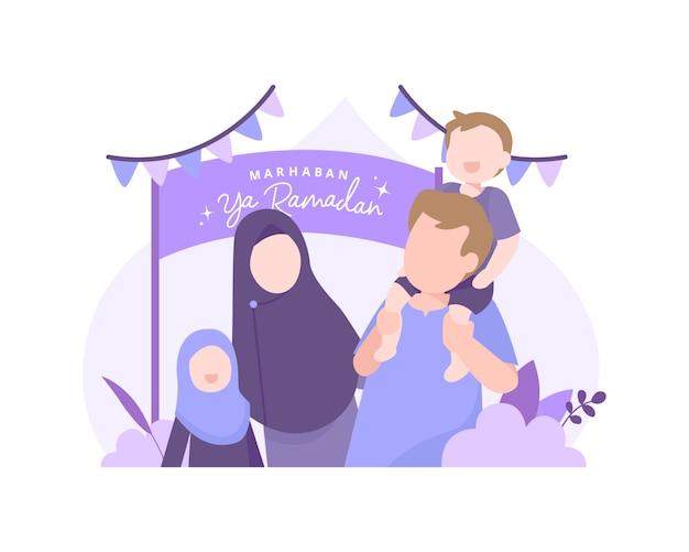 Marhaban ya ramadan mit muslimischer familie