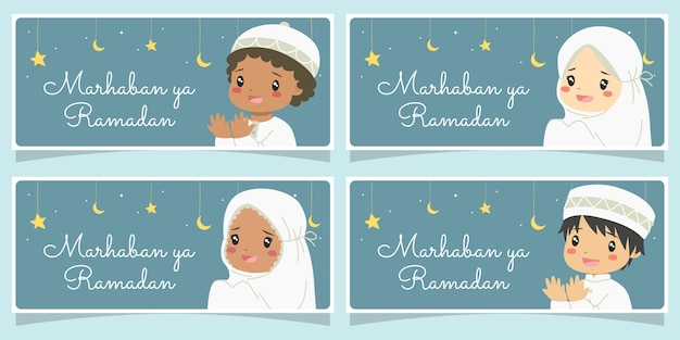 Marhaban yaa ramadan bannerset. glückliche muslimische kinder, die beten