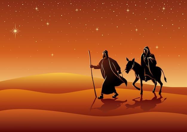 Maria und josef, reise nach bethlehem