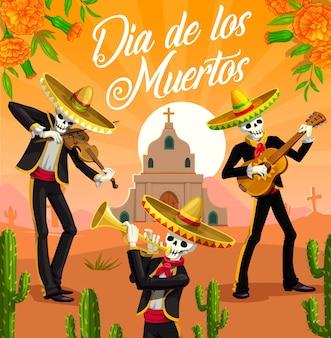 Mariaachi-skelette von dia de los muertos, feiertag des mexikanischen tages der toten. musikerschädel mit sombreros, gitarre, trompete und geige, kirche, grabstein, kakteen und ringelblumen