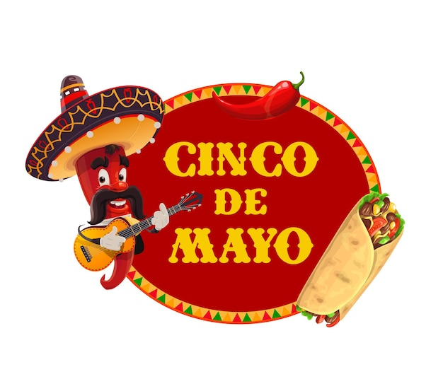 Mariachi chili pfeffer in sombrero spielt gitarre, burrito und roten jalapeno
