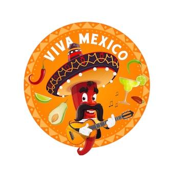 Mariachi chili pfeffer in sombrero spielt gitarre