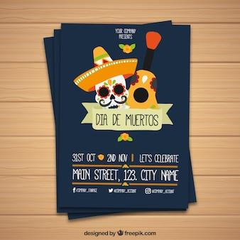 Mariachi toten tag party poster mit gitarre