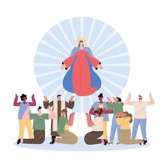 Mariä himmelfahrt und frauen und männer preisen