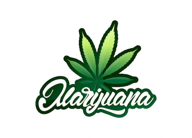 Marihuana in der beschriftungsart mit blatt