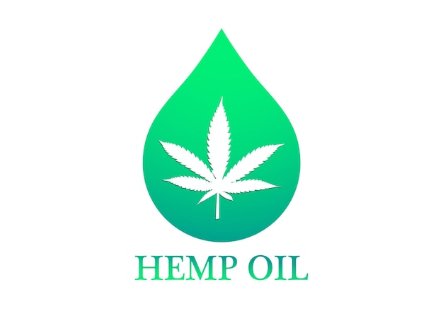 Marihuana oder cannabis. cannabisöl mit marihuanablatt und hanföltropfen. öltropfenikone mit einem marihuanablatt vektor-illustration