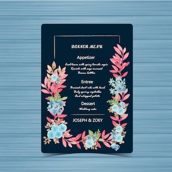 Marine-hochzeits-menü-karte mit schöner blume