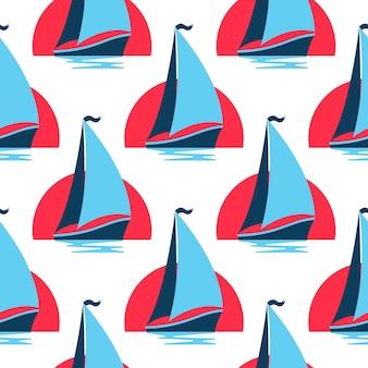 Marine nahtlose muster mit segelboot auf den wellen gegen die aufgehende sonne.