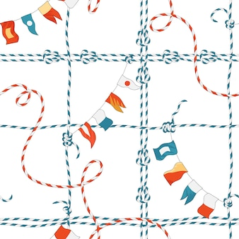 Marine nahtlose muster mit seilknoten und flaggen. nautischer stoffhintergrund mit loop navy ornament für tapeten, dekoration, verpackung. vektor-illustration