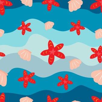 Marine nahtlose muster nahtlose textur mit wellen muscheln und seesterne stock vector