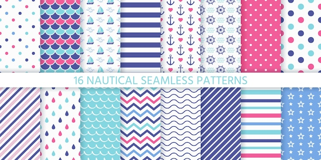 Marine nahtloses musterset. geometrische textur.