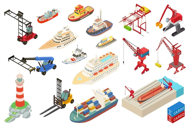 Marine port icons eingestellt. isometrischer satz von marinehafenikonen für webdesign lokalisiert auf weißem hintergrund