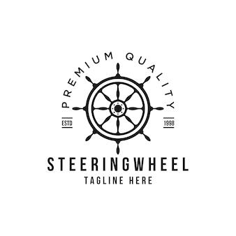 Marine retro lenkrad logo design vorlage Premium Vektoren