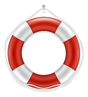 Marine rettungsring wassersicherheit isoliert auf weiss