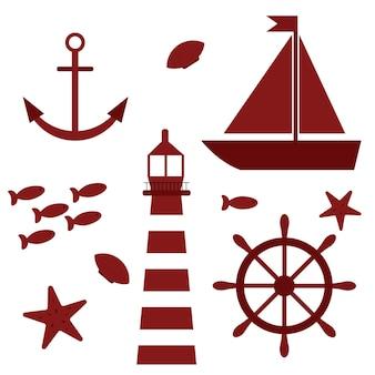 Marine-themenset-illustration mit leuchtturm, segelboot und meeresbewohnern