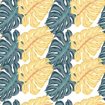 Marineblau und orangefarbene monstera silhouetten nahtlose muster. isolierte verzierung. dekorative kulisse für stoffdesign, textildruck, verpackung, abdeckung. vektor-illustration.
