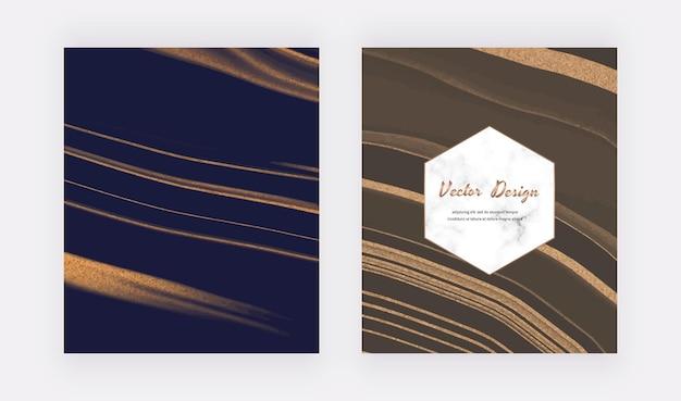Marineblaue und braune flüssige tinte mit goldenen glitzerkarten