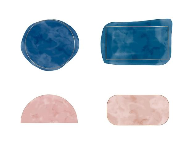 Marineblaue und rosa aquarellformen für social-media-banner-einladungen