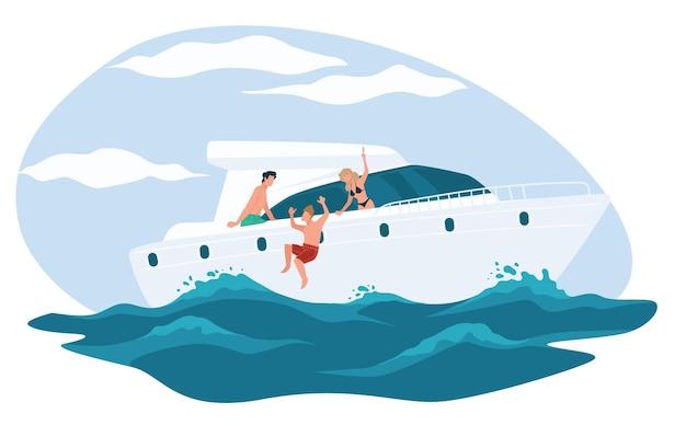 Marinereise von freunden, wohlhabenden oder reichen leuten, die sommerferien genießen, die auf einer yacht kreuzen. persönlichkeit, die ins wasser springt und auf einem boot oder einem luxuriösen schiff ein sonnenbad nimmt. schwimmvektor im flachen stil