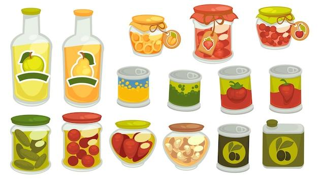 Mariniertes gemüse, eingelegtes gemüse in dosen, tomaten und gurken, knoblauch und oliven, pfeffer und süßer pfirsich oder aprikose. saft von äpfeln und birnen, diät und ernährung. vektor im flachen stil