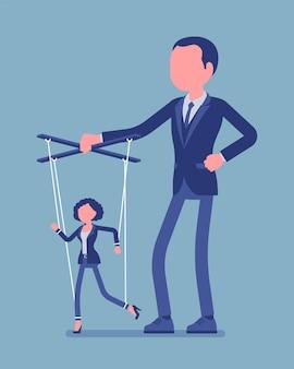 Marionettengeschäftsfrau, die von männlichen puppenspielern manipuliert und kontrolliert wird. weiblicher manager unter chefeinfluss, starker mann mit autorität betreibt eine schwache frau. vektorillustration, gesichtslose charaktere