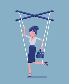 Marionettengeschäftsfrau, manipulierte kontrollierte marionette, die von schnüren bearbeitet wird. weiblicher manager unter einfluss des chefs, macht, geschäftsaufträge auszuführen, entscheidungen zu treffen. vektorillustration, gesichtsloser charakter