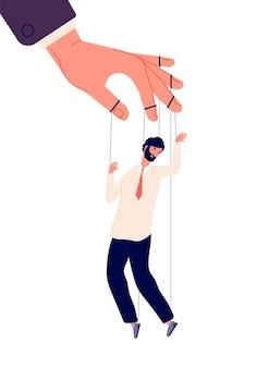 Marionettengeschäftsmann. manipulieren der marionette mit menschlicher handsteuerung.