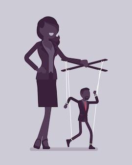 Marionettengeschäftsmann manipuliert und kontrolliert von weiblichem puppenspieler. männlicher manager unter chefeinfluss, starke frau mit autorität betreibt einen schwachen mann. vektorillustration, gesichtslose charaktere