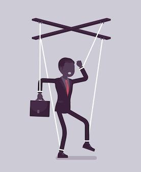 Marionettengeschäftsmann, manipulierte oder kontrollierte marionette, die von schnüren gearbeitet wird. männlicher manager unter einfluss des chefs, macht, geschäftsaufträge auszuführen, entscheidungen zu treffen. vektorillustration, gesichtsloser charakter